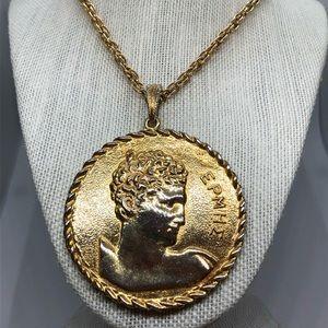 Vintage Pauline Rader Huge Greek Coin Necklace